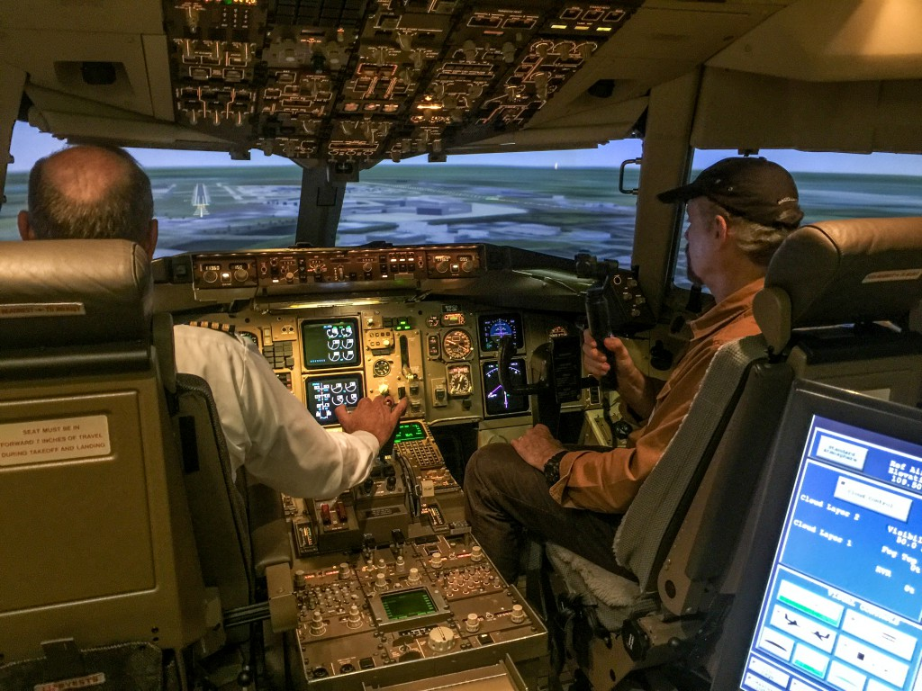 Filming in Delta 767 Flight Simulator